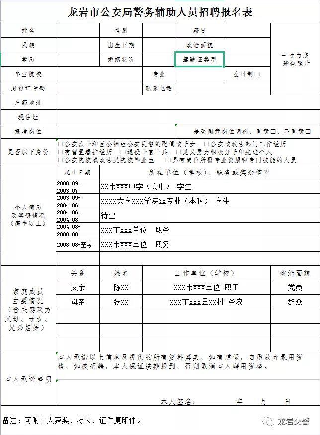 龙岩市公安局关于招聘公安交通管理及监所警务辅助人员的公告